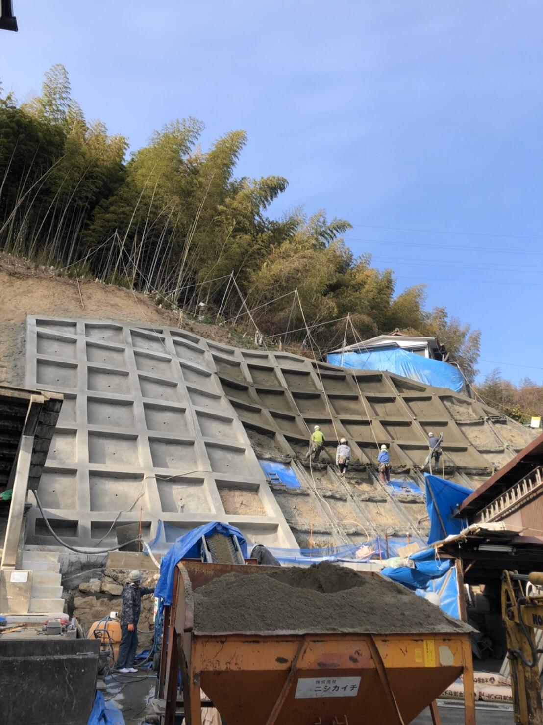 広島市南区 急傾斜地崩壊対策工事 法面工
